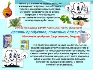 Десять продуктов, полезных для зубов Зелень (петрушка, салат латук, лук, укро