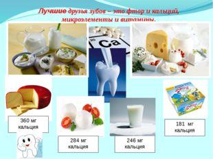 Лучшие друзья зубов – это фтор и кальций, микроэлементы и витамины. 360 мг ка