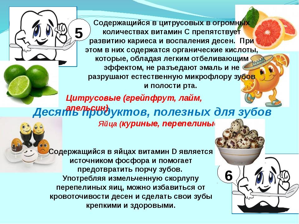 Десять продуктов, полезных для зубов Цитрусовые (грейпфрут, лайм, апельсин) 5...