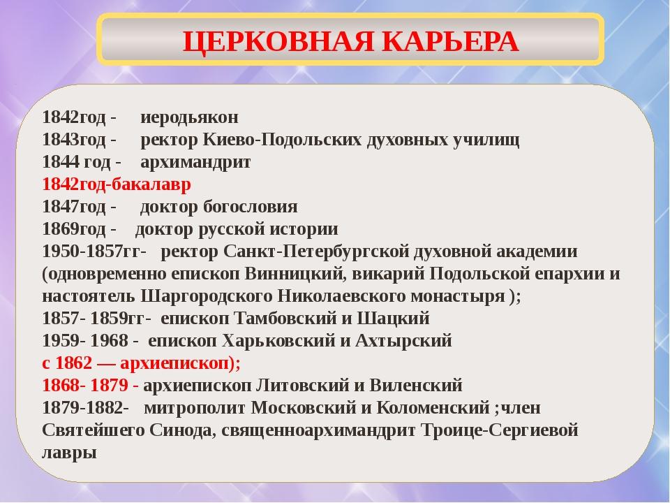1842год - иеродьякон 1843год - ректор Киево-Подольских духовных училищ 1844 г...