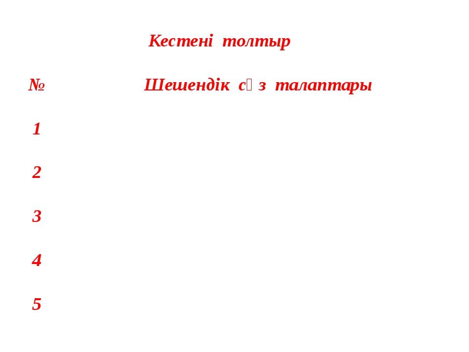 Кестені толтыр № Шешендік сөз талаптары 1 2 3 4 5