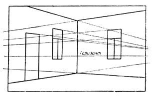 1, а. Схема комнаты, находящейся под случайным углом к лучу зрения