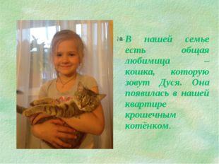 В нашей семье есть общая любимица – кошка, которую зовут Дуся. Она появилась