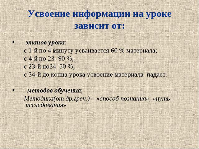 Усвоение информации на уроке зависит от: этапов урока: с 1-й по 4 минуту усва...