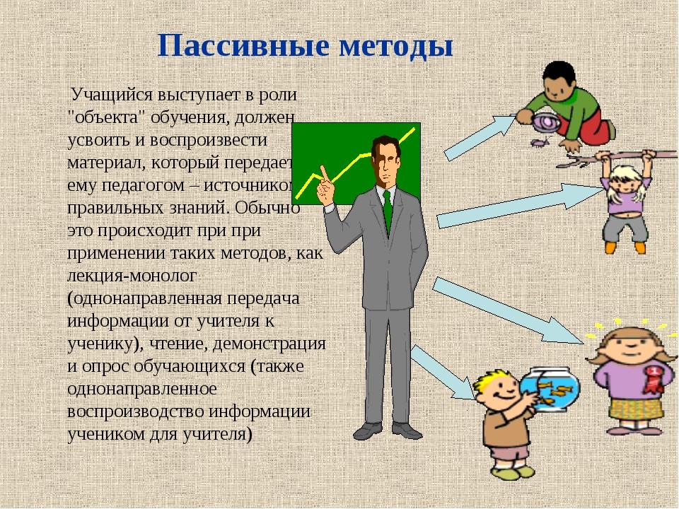 """Учащийся выступает в роли """"объекта"""" обучения, должен усвоить и воспроизвести..."""