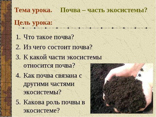 Почва – часть экосистемы? Тема урока. Что такое почва? Из чего состоит почва?...