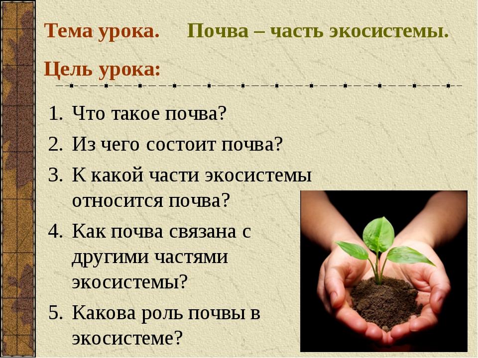 Почва – часть экосистемы. Тема урока. Цель урока: Что такое почва? Из чего со...
