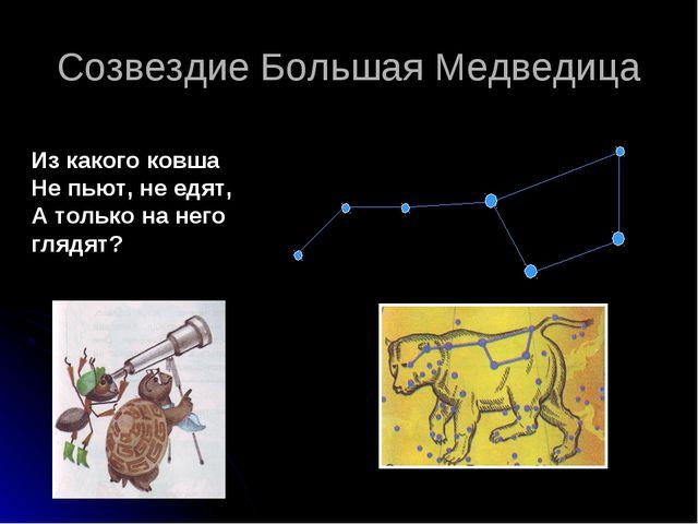Созвездие Большая Медведица Из какого ковша Не пьют, не едят, А только на нег...