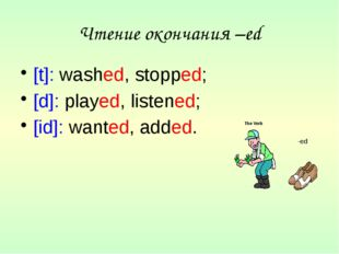 Чтение окончания –ed [t]: washed, stopped; [d]: played, listened; [id]: wante