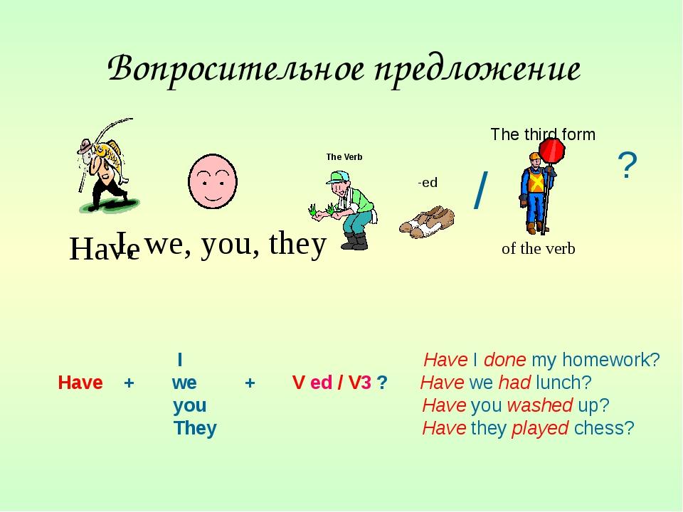 Вопросительное предложение I, we, you, they ? I Have I done my homework? Have...