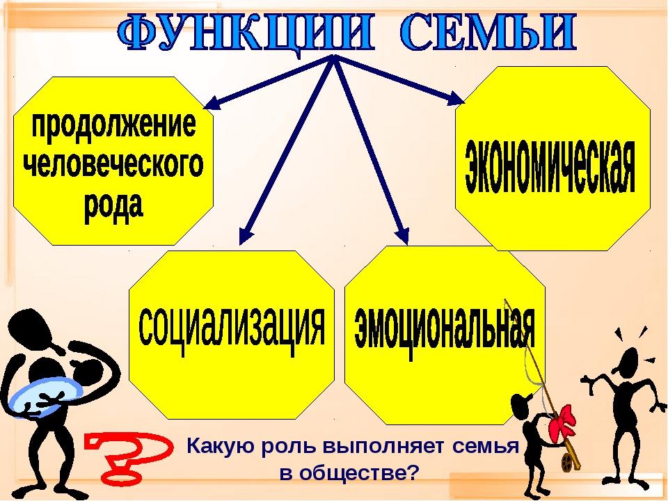 Какую роль выполняет семья в обществе?