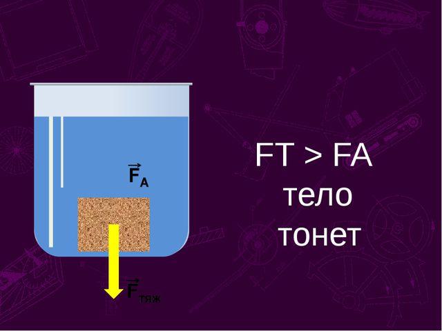FT > FA тело тонет