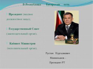 В Республике Татарстан есть Президент (высшее должностное лицо); Государствен