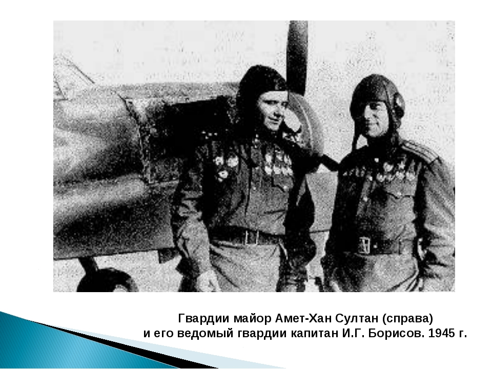 Гвардии майор Амет-Хан Султан (справа) и его ведомый гвардии капитан И.Г. Бор...