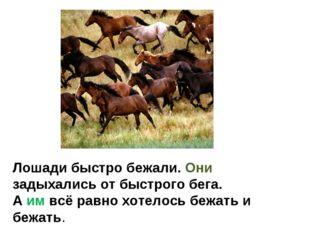 Лошади быстро бежали. Они задыхались от быстрого бега. А им всё равно хотелос