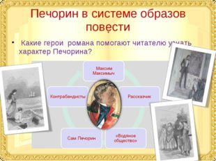 Печорин в системе образов повести Какие герои романа помогают читателю узнать