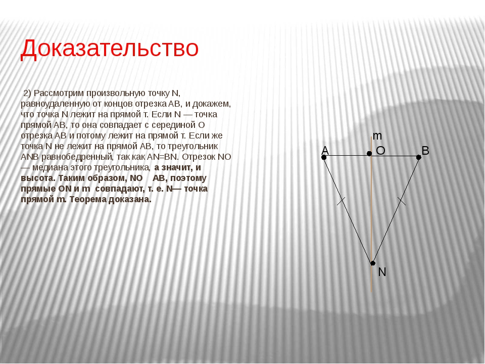 Доказательство 2) Рассмотрим произвольную точку N, равноудаленную от концов о...