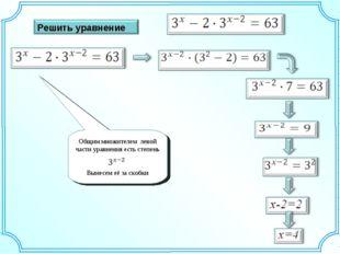 Общим множителем левой части уравнения есть степень Вынесем её за скобки