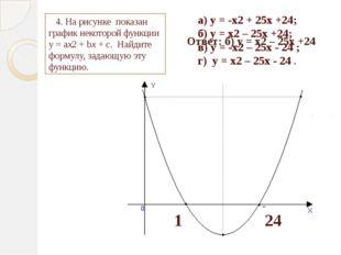 1 24 а) у = -х2 + 25х +24; б) у = х2 – 25х +24; в) у = -х2 – 25х - 24 ; г) у