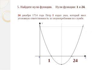 1 24 5. Найдите нули функции. 24 декабря 1714 года Петр I издал указ, который