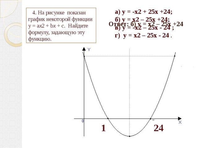 1 24 а) у = -х2 + 25х +24; б) у = х2 – 25х +24; в) у = -х2 – 25х - 24 ; г) у...