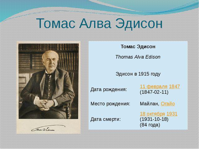 Томас Алва Эдисон Томас Эдисон Thomas Alva Edison Эдисон в 1915 году Дата рож...