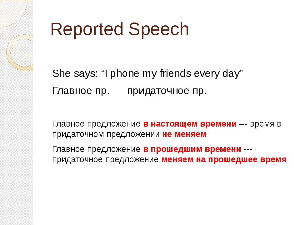 "Reported Speech She says: ""I phone my friends every day"" Главное пр. придаточ..."