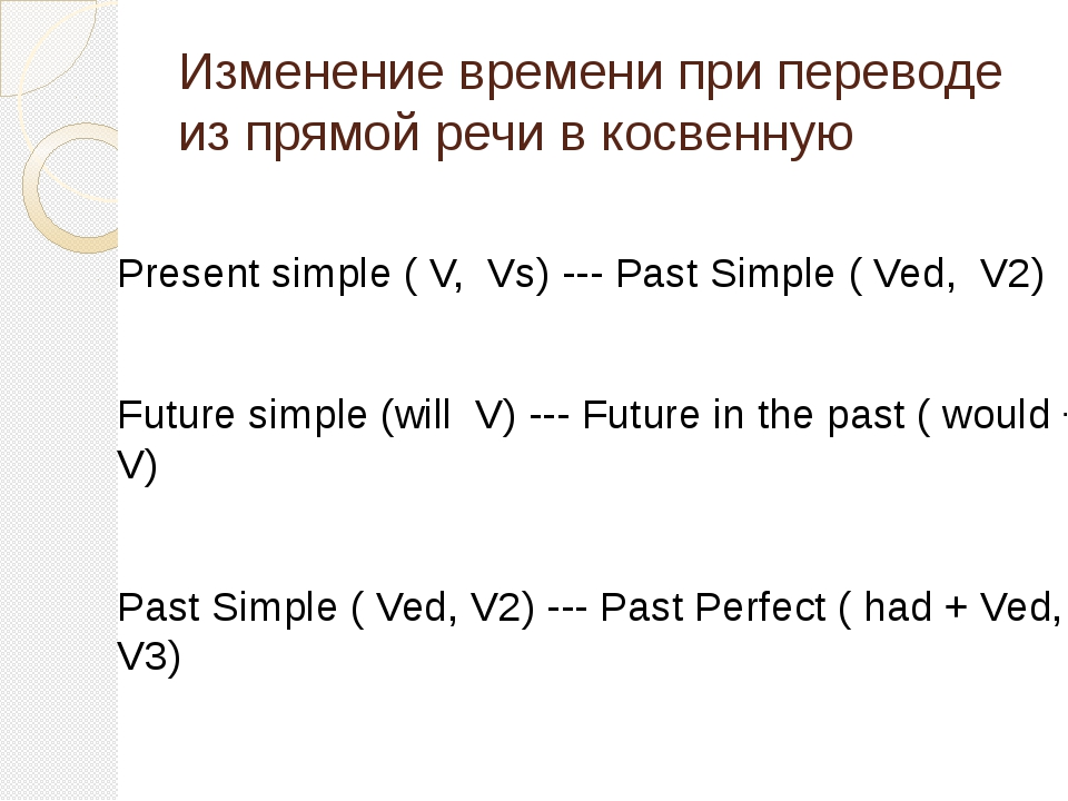 Изменение времени при переводе из прямой речи в косвенную Present simple ( V,...