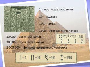 1 - вертикальная линия 10 - подкова 100 - силок 1000 - изображение лотоса 10