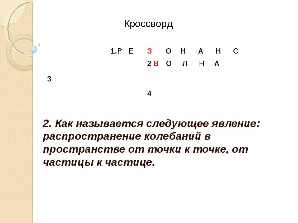 2. Как называется следующее явление: распространение колебаний в пространстве...