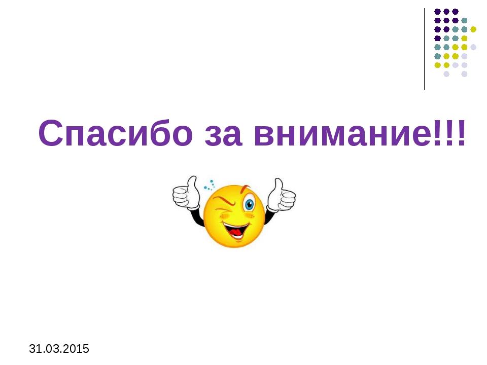 31.03.2015 Спасибо за внимание!!!