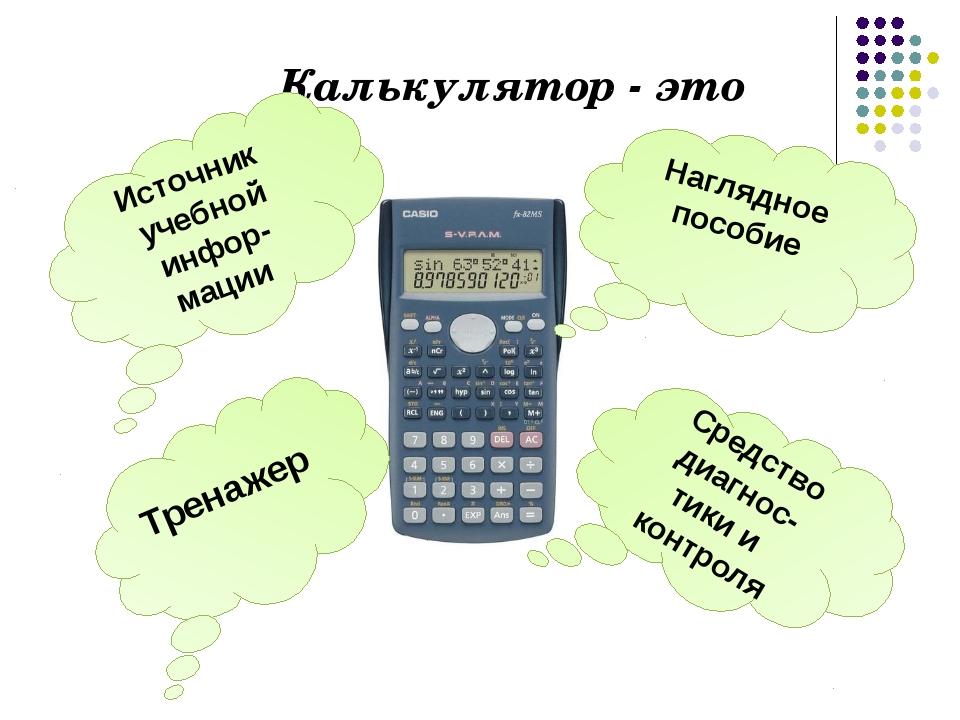 Калькулятор - это Наглядное пособие Средство диагнос- тики и контроля Источни...