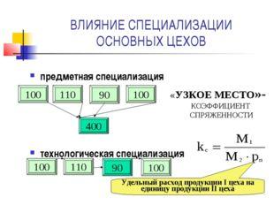 ВЛИЯНИЕ СПЕЦИАЛИЗАЦИИ ОСНОВНЫХ ЦЕХОВ предметная специализация технологическая