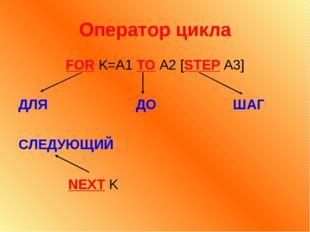 Оператор цикла FOR K=A1 TO A2 [STEP A3] ДЛЯ ДО ШАГ СЛЕДУЮЩИЙ NEXT K