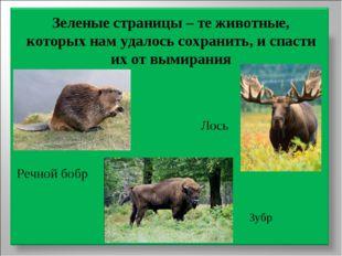Зеленые страницы – те животные, которых нам удалось сохранить, и спасти их от