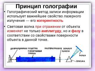 Принцип голографии Голографический метод записи информации использует важнейш