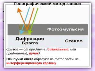 Голографический метод записи информации Голографический метод получения изобр