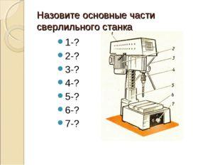 Назовите основные части сверлильного станка 1-? 2-? 3-? 4-? 5-? 6-? 7-?
