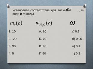 Установите соответствие для значений , m соли и m воды. 10 А. 80 а) 0,3 2. 20