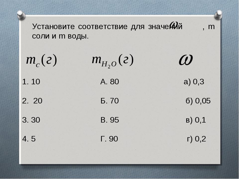 Установите соответствие для значений , m соли и m воды. 10 А. 80 а) 0,3 2. 20...