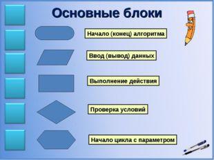 Основные блоки Начало (конец) алгоритма Ввод (вывод) данных Выполнение действ