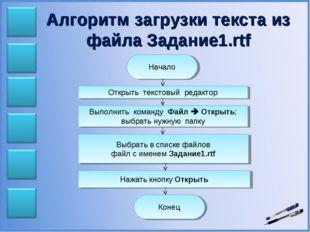 Алгоритм загрузки текста из файла Задание1.rtf Начало Открыть текстовый редак