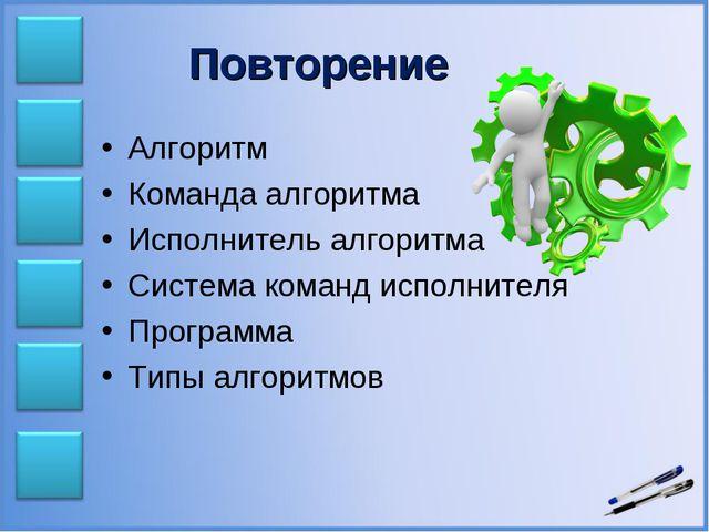 Повторение Алгоритм Команда алгоритма Исполнитель алгоритма Система команд ис...