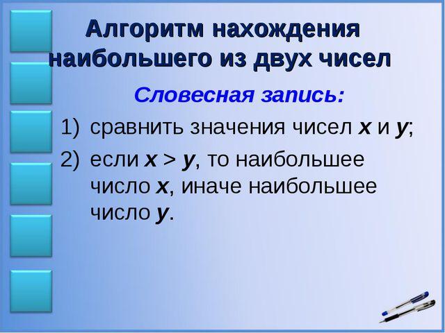 Алгоритм нахождения наибольшего из двух чисел Словесная запись: сравнить знач...