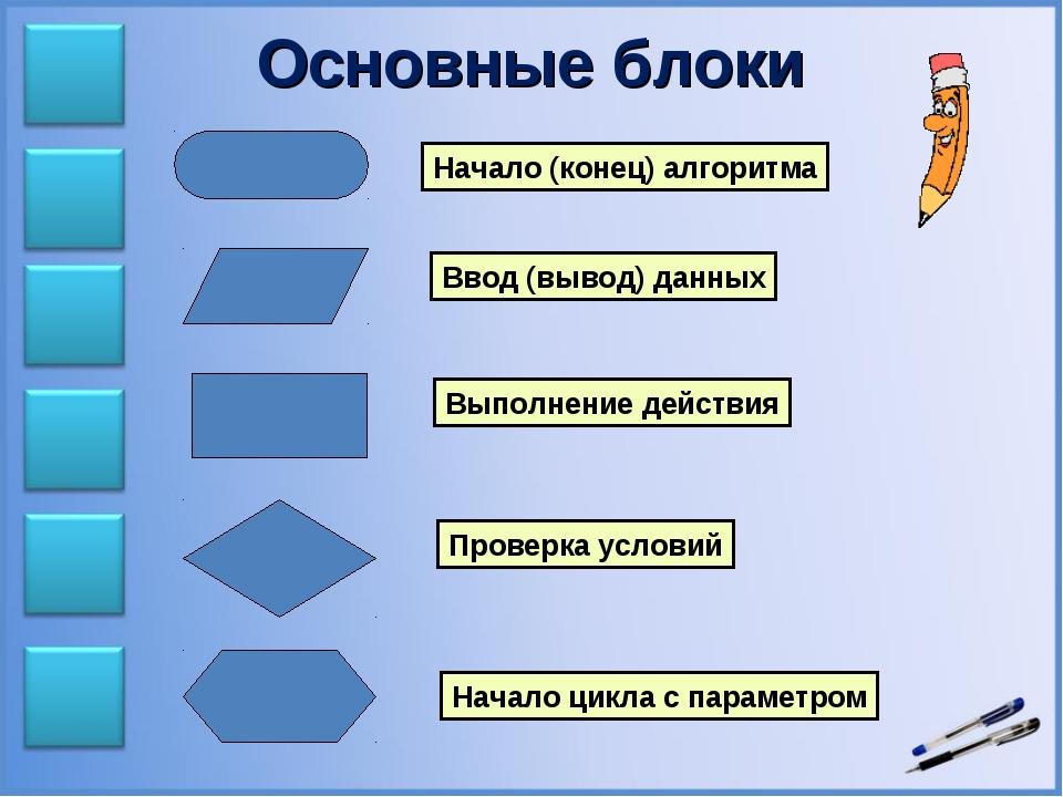 Основные блоки Начало (конец) алгоритма Ввод (вывод) данных Выполнение действ...