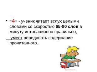 «4» - ученик читает вслух целыми словами со скоростью 65-80 слов в минуту инт