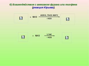 + NH3 - H2O Al2O3, ThO2 450ºC + NH3 - H2S t, kat б) Взаимодействие с аммиаком
