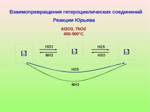 H2O H2O H2S NH3 H2S NH3 Взаимопревращения гетероциклических соединений Реакц