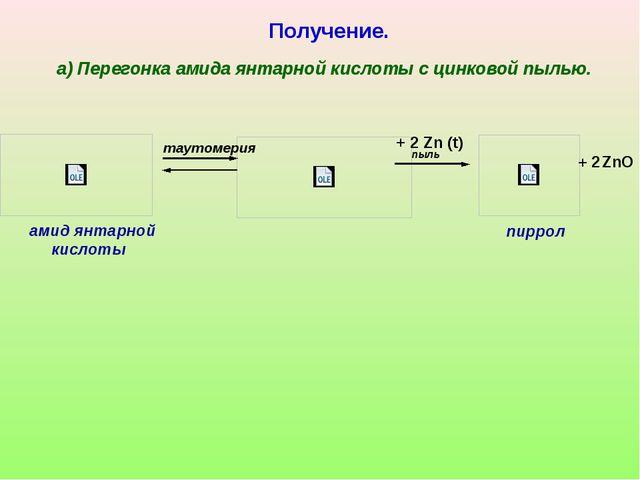 таутомерия амид янтарной кислоты пиррол Получение. а) Перегонка амида янтарн...