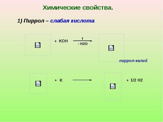 + + K KOH - H2O t + Химические свойства. 1) Пиррол – слабая кислота пиррол-ка...